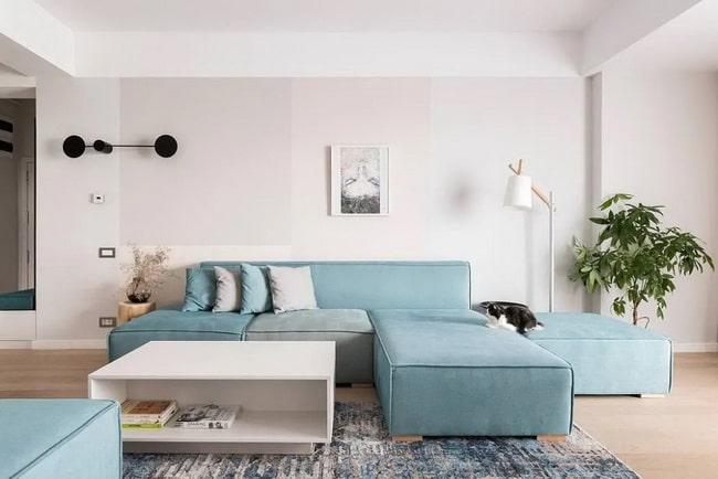 Sofá en color azul empolvado