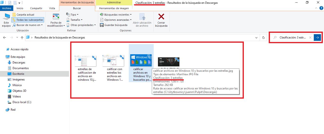 como buscar ficheros utilizando la clasificación de estrellas en windows diez
