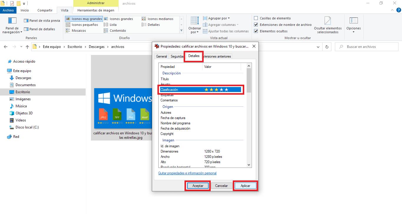 estrellas de clasificación de ficheros en windows diez