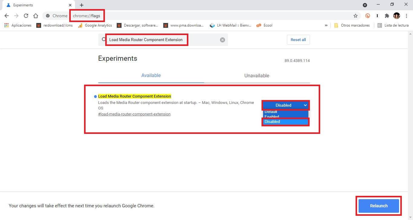 como desactivar la función mandar o bien trasmitir contenido desde google Google Chrome a tu tv o bien monitor