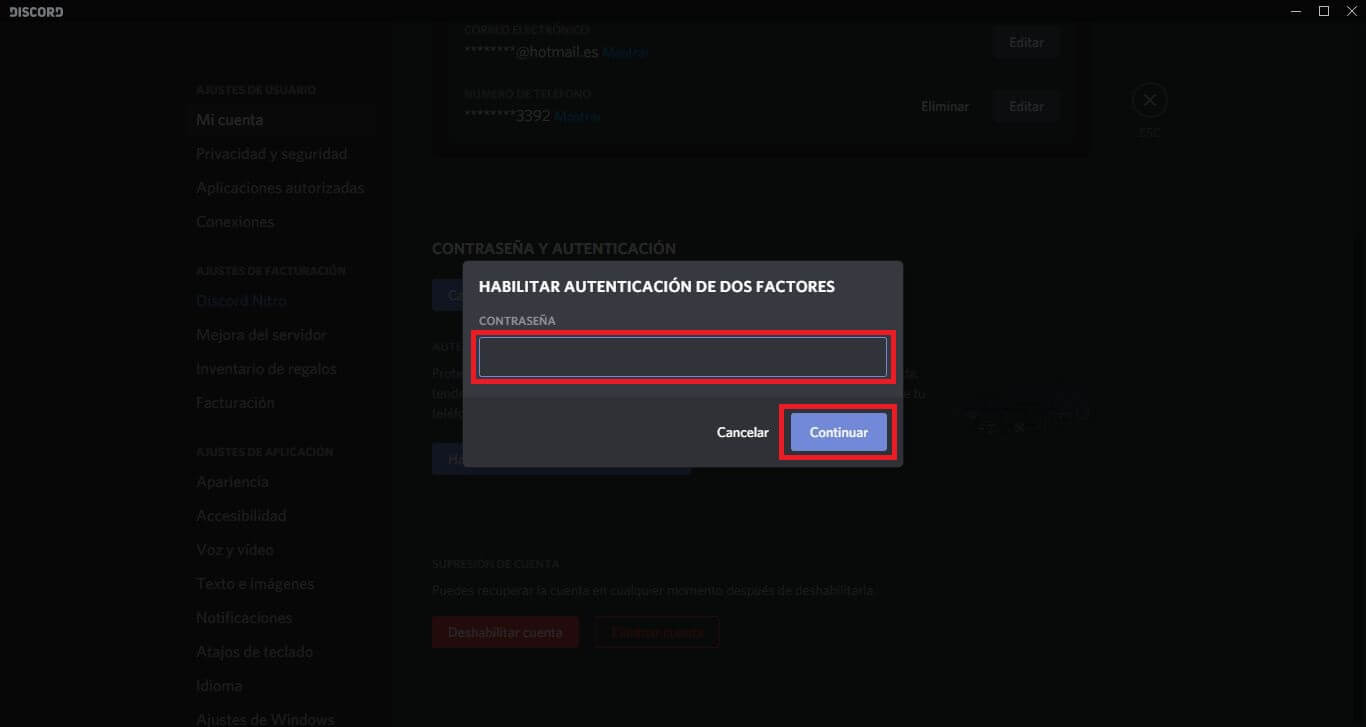 progresar la seguridad de tu cuenta de discord activando la verificación de 2 pasos