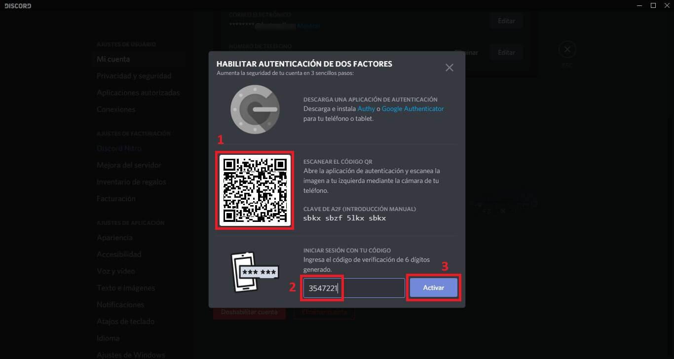 verificación de 2 pasos de discord