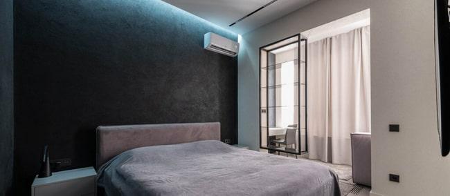 Dormitorio principal con pared obscura
