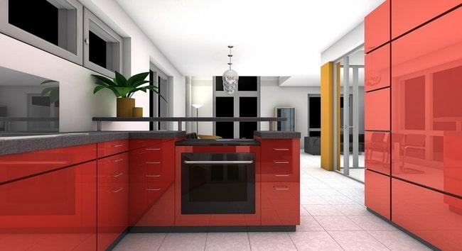 Cocina con muebles colorados