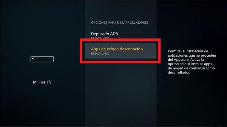 activar la opcion que deja instalar aplicaciones de terceros en tu amazon fire tv stick