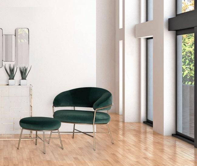 Sillones y sillas de terciopelo