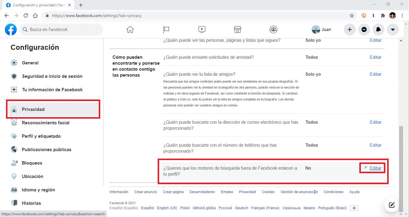 No permitir que fb indexe tu perfil en los motores de busqueda